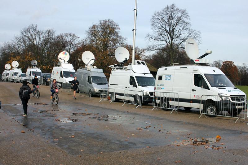 Media vans outside Kensington Palace