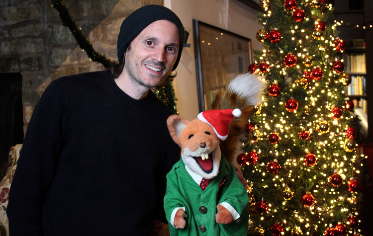 Filmmaker Richard Dutton with legendary fox Basil Brush